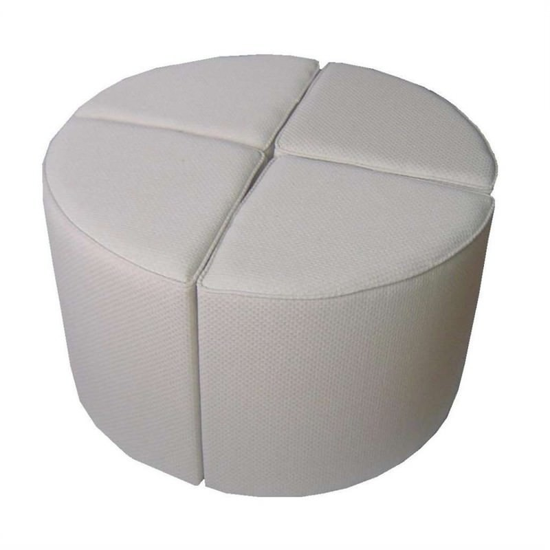 Four Wedges Ottoman In Ivory