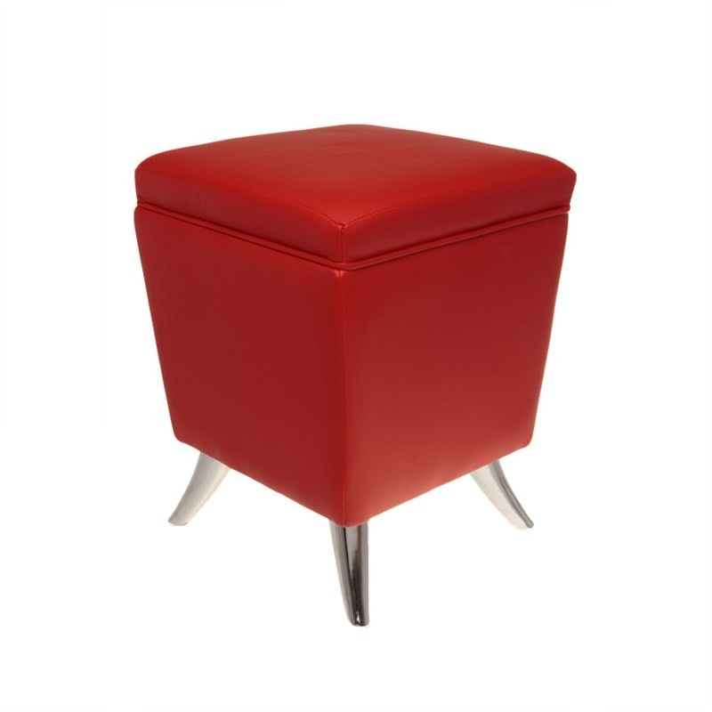 Square Faux-Leather Ottoman In Red