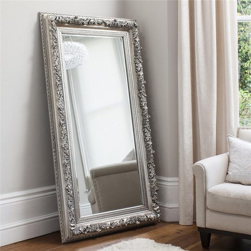 Anton Leaner Floor Mirror, 180cm, Silver