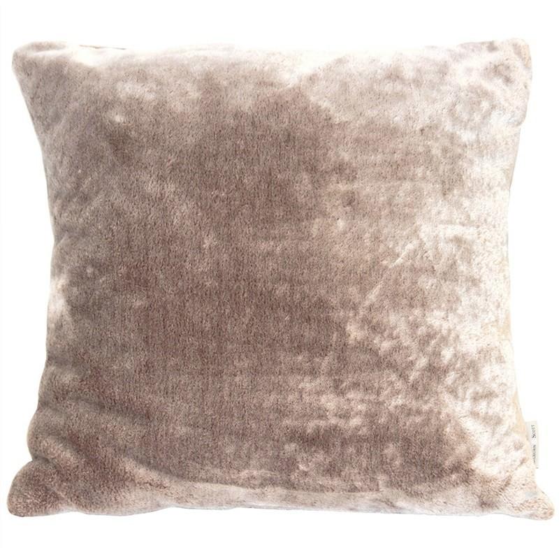 Kilburn & Scott Grizzly Faux Fur Cushion, Chocolate