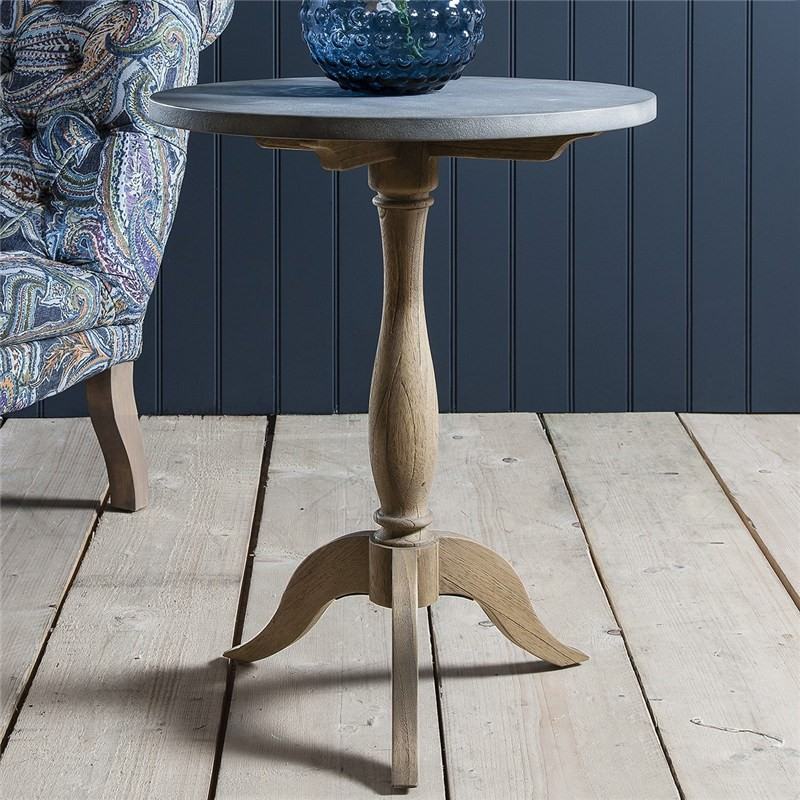 Dexter Solid Timber Round Side Table With Faux Concrete Top