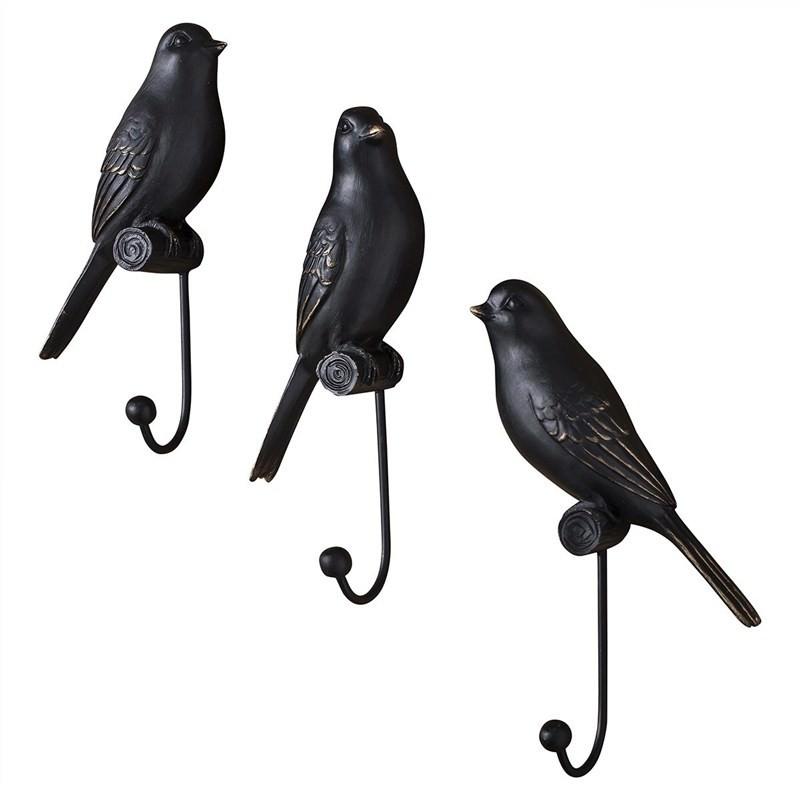 Set of 3 Avery Resin Bird Wall Hooks