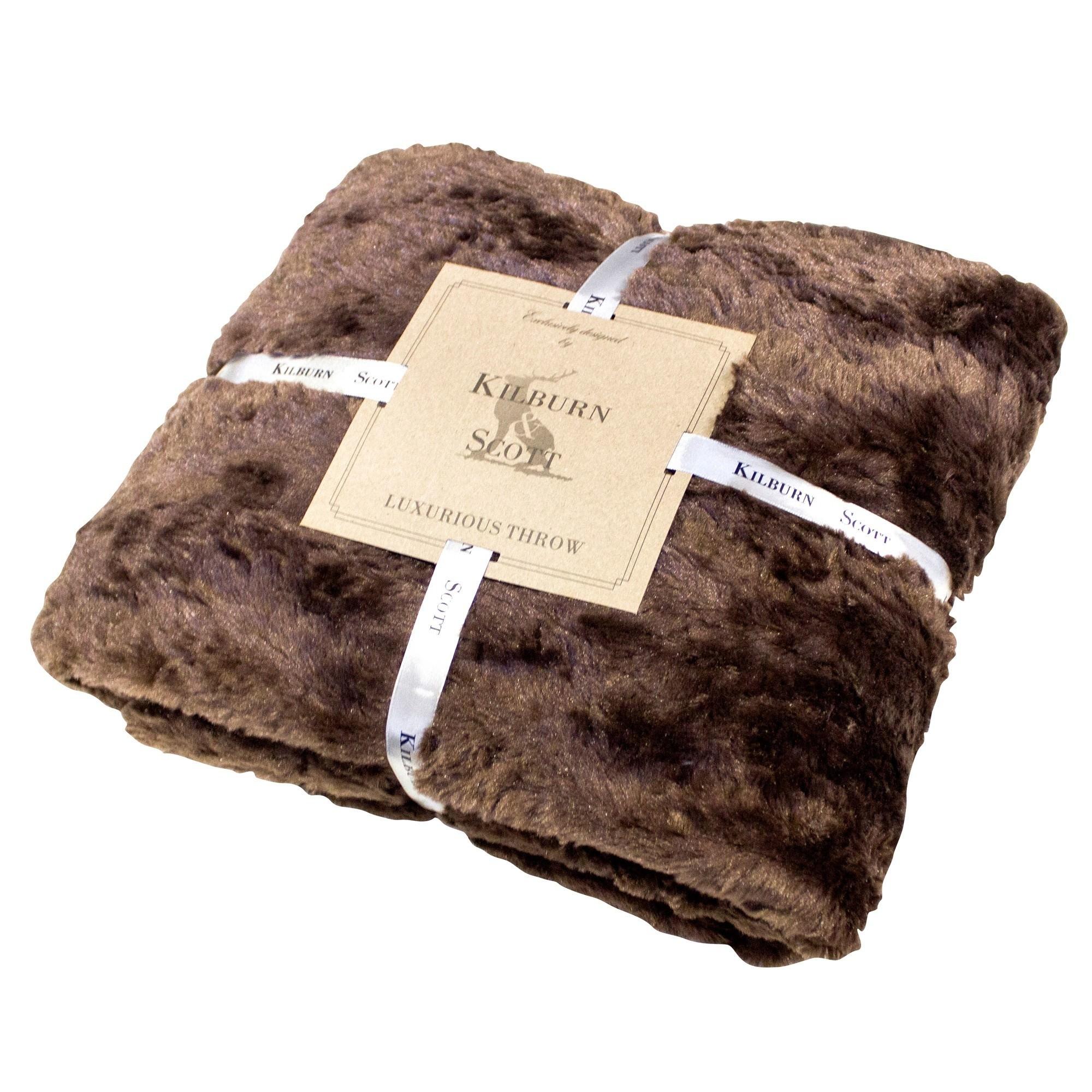 Kilburn & Scott Faux Fur Throw, Chocolate