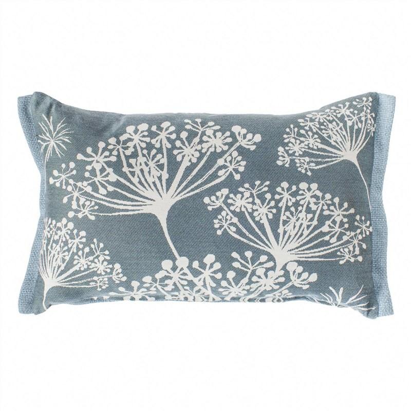 Silhouette Stem Print Lumbar Cushion, Duck Egg Blue