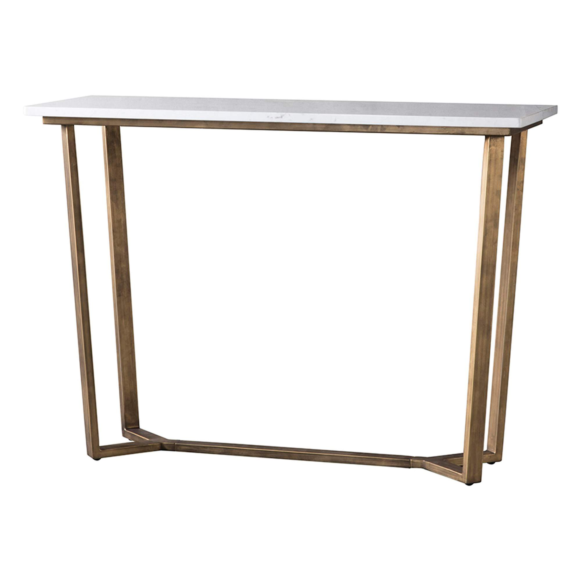 Earl Marble Top Console Table, 110cm, White / Brass