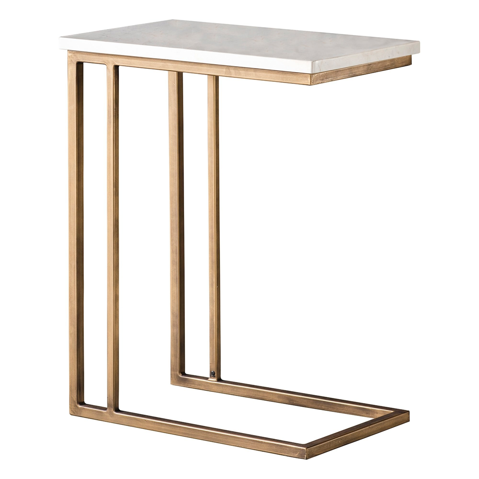 Earl Marble Top C-shape Side Table, White / Brass