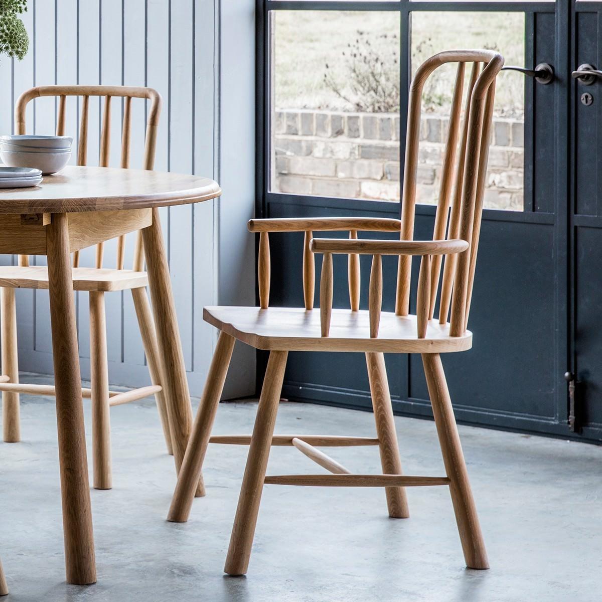 Willem Oak Timber Carver Dining Armchair, Natural