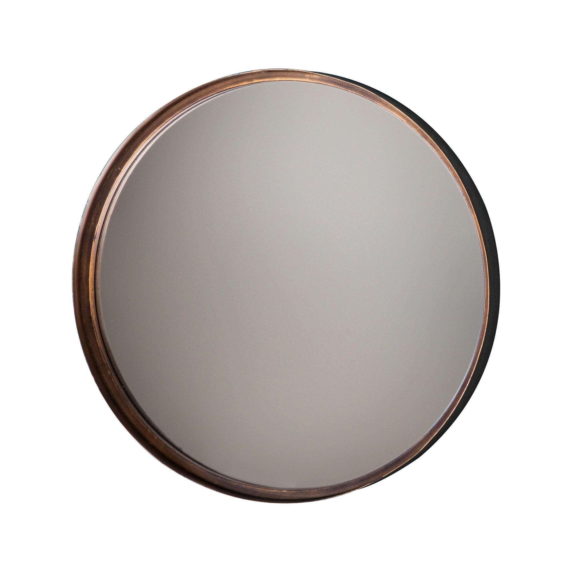 Metal Frame Round Wall Mirror, 41cm