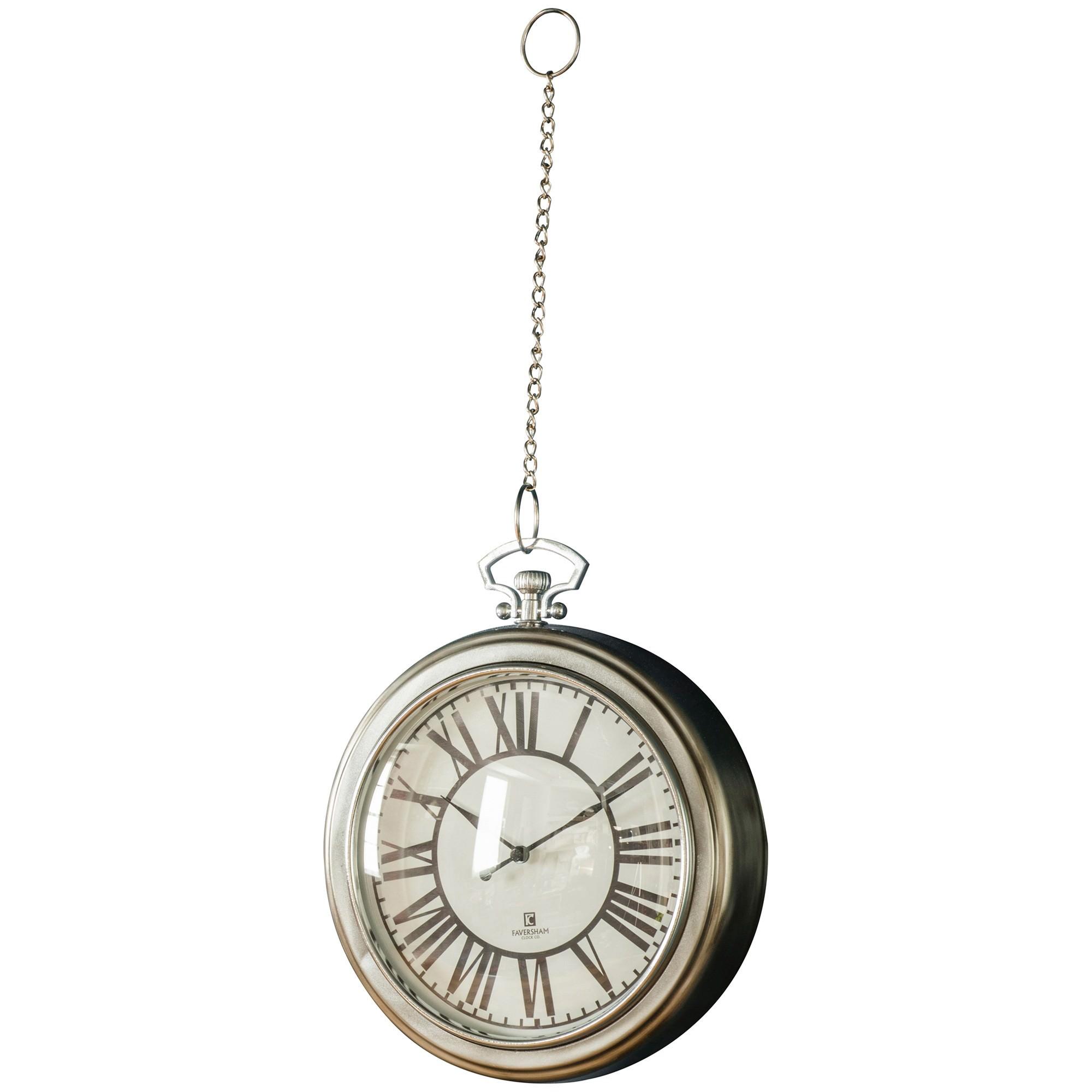 Stia Pocket Watch Wall Clock, 24cm, Nickel