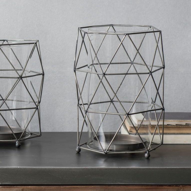 Mason Metal Wireframe Lantern, Large, Charcoal