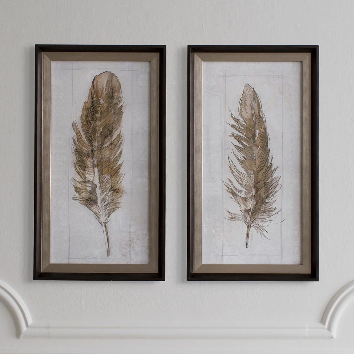 Autumn Feather 2 Piece Framed Wall Art Set