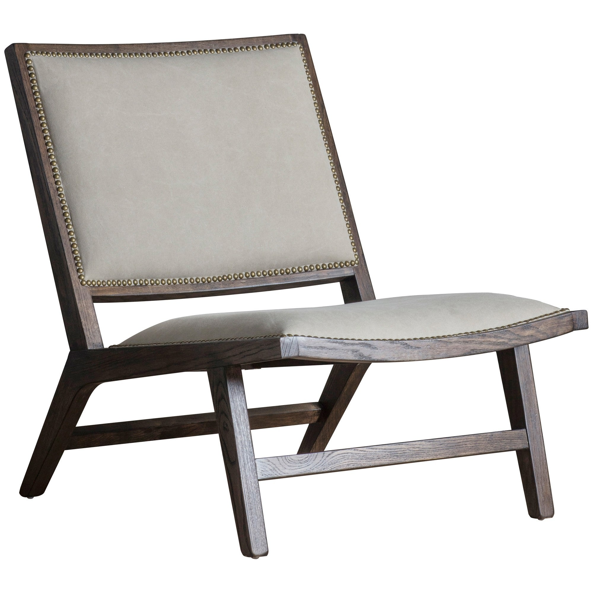 Caiden Fabric & Ash Timber Lounge Chair, Beige