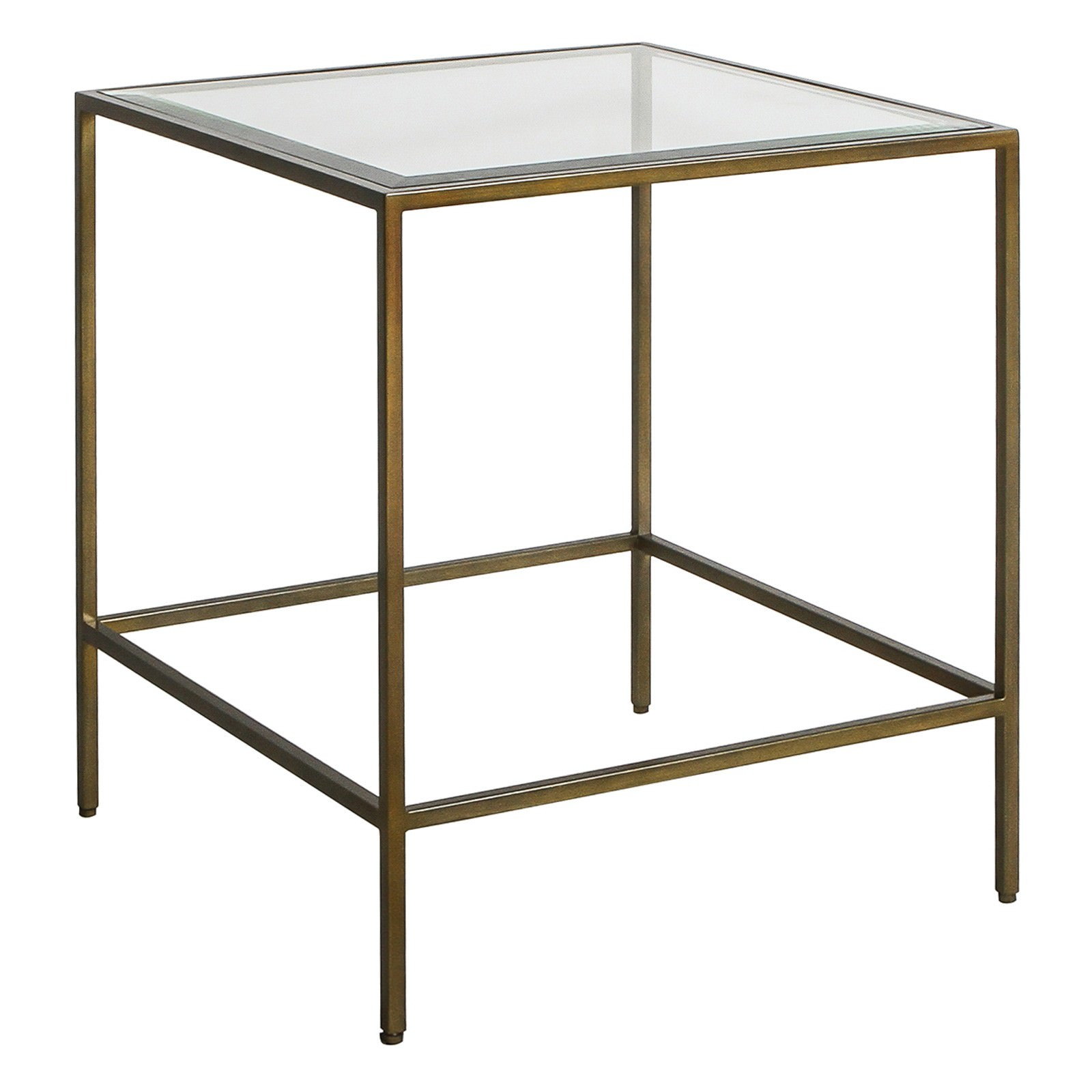 Roonie Glass Topped Metal Square Side Table