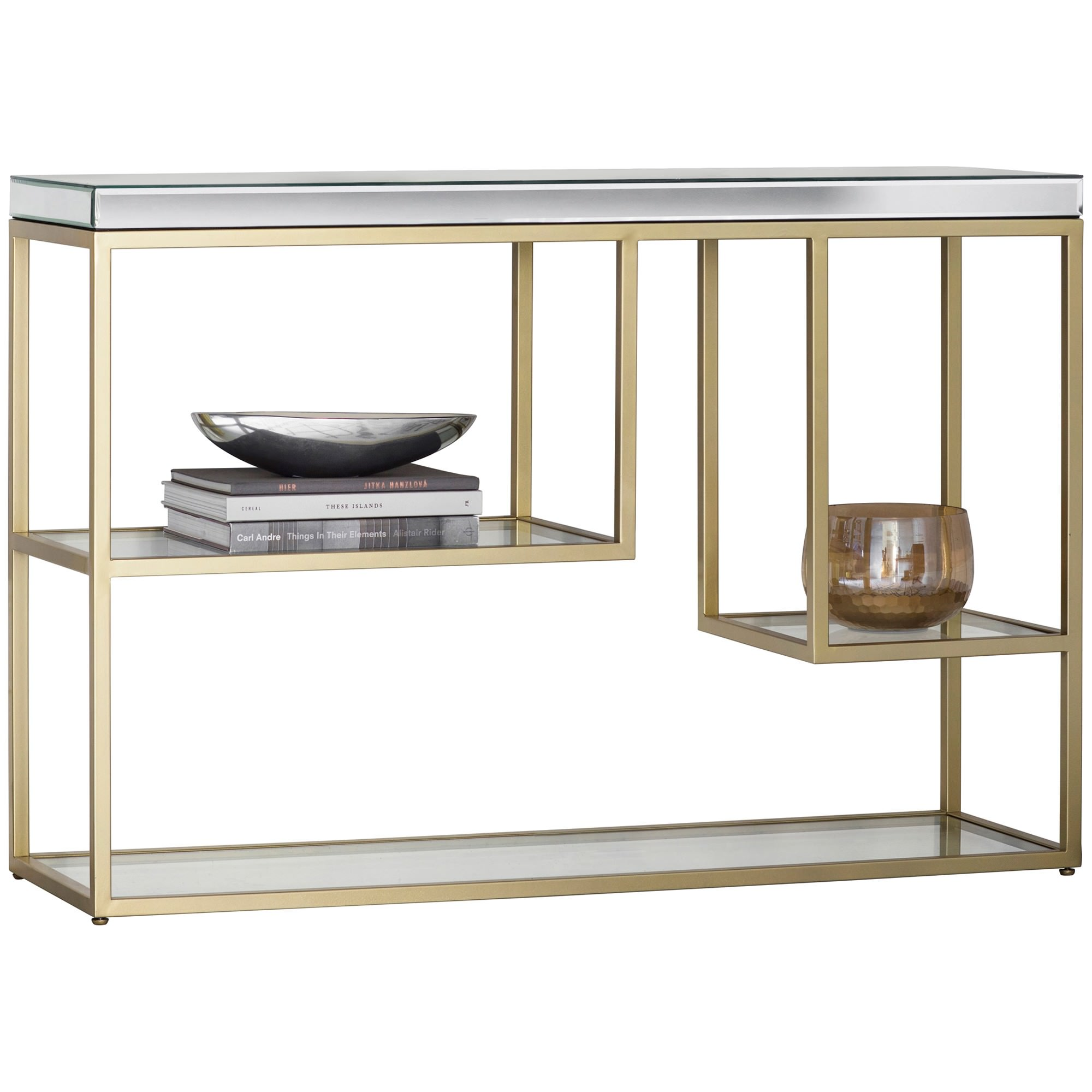 Parker Mirror & Metal Console Table, 120cm, Champagne