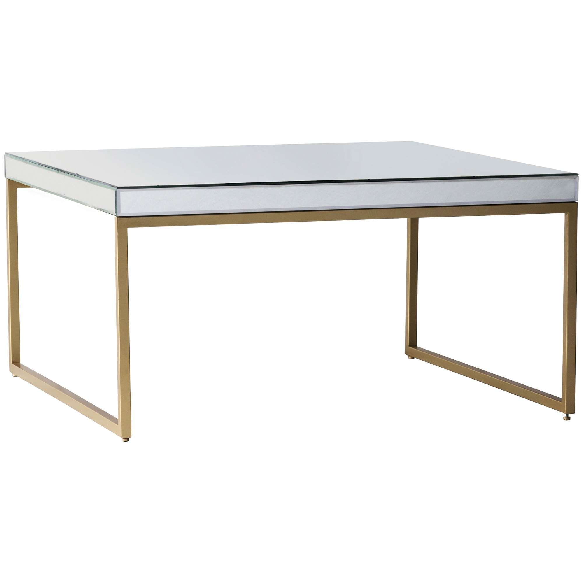 Champagne Mirrored Coffee Table: Parker Mirror & Metal Coffee Table, 60cm, Champagne