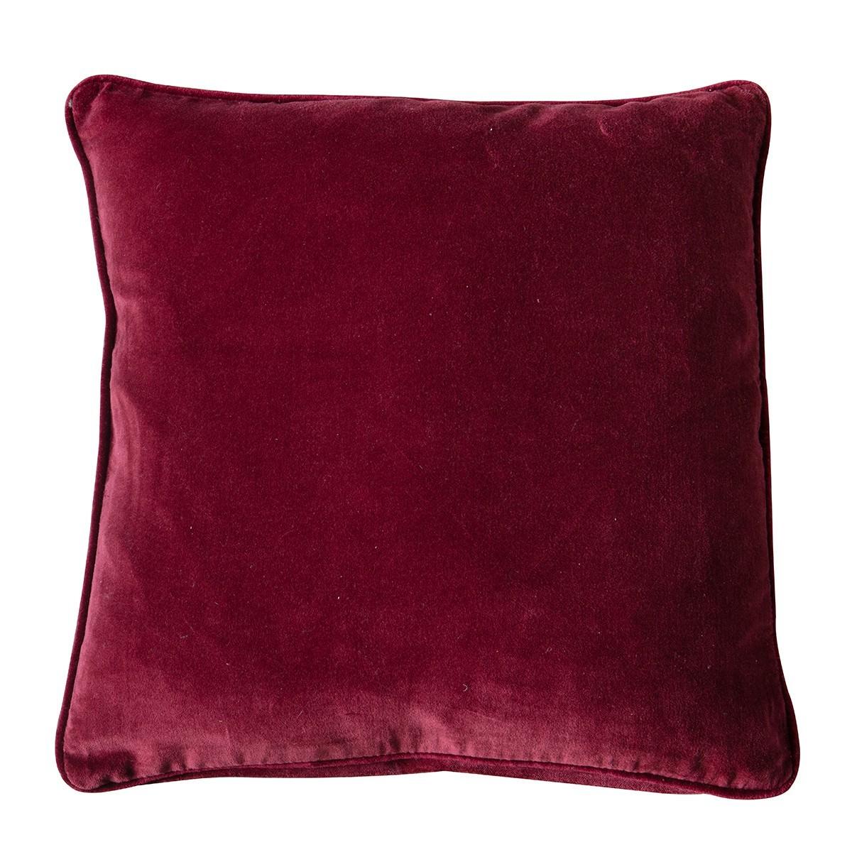 Eliza Feather Filled Velvet Scatter Cushion, Claret