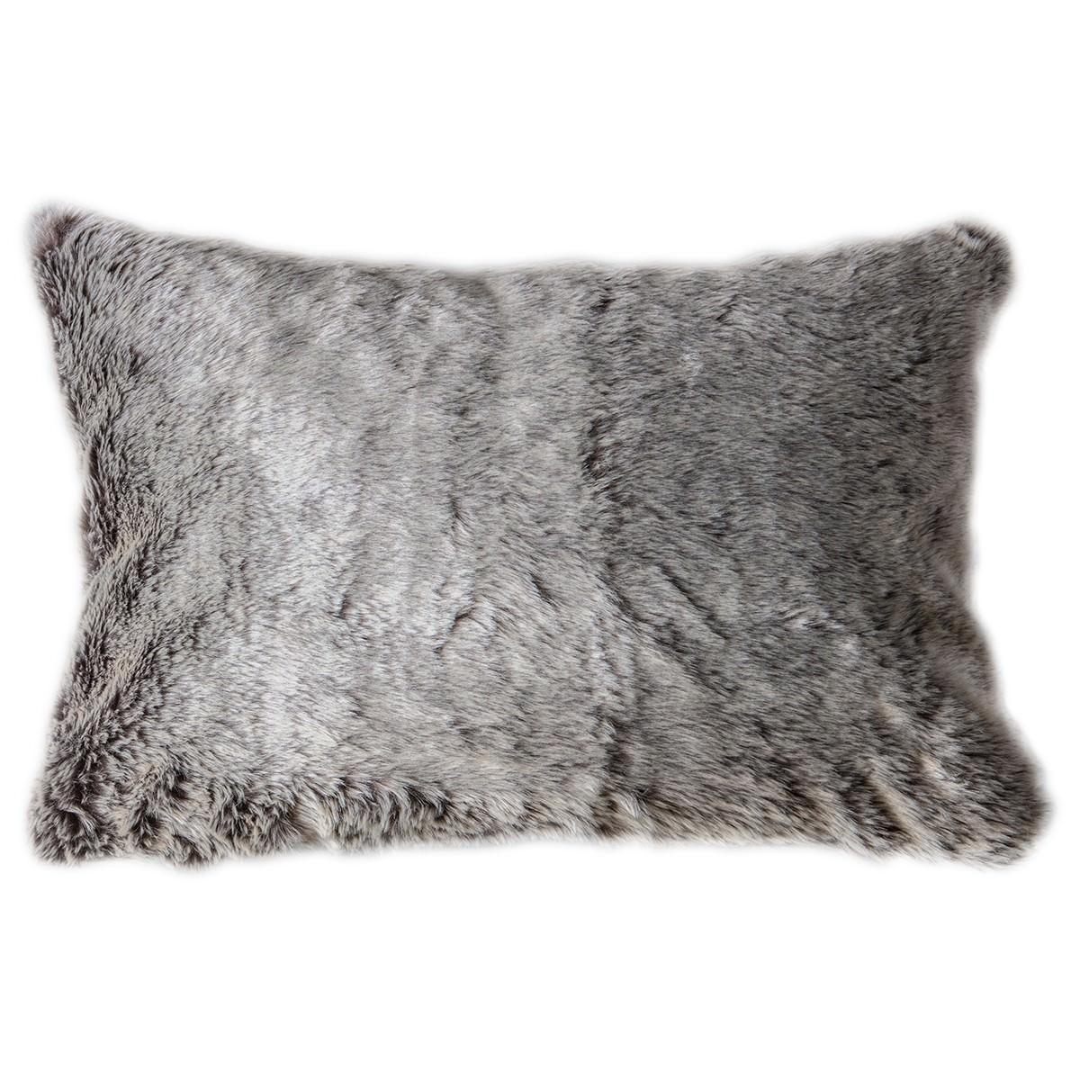 Eskimo Wolf Faux Fur Lumbar Cushion, Chocolate