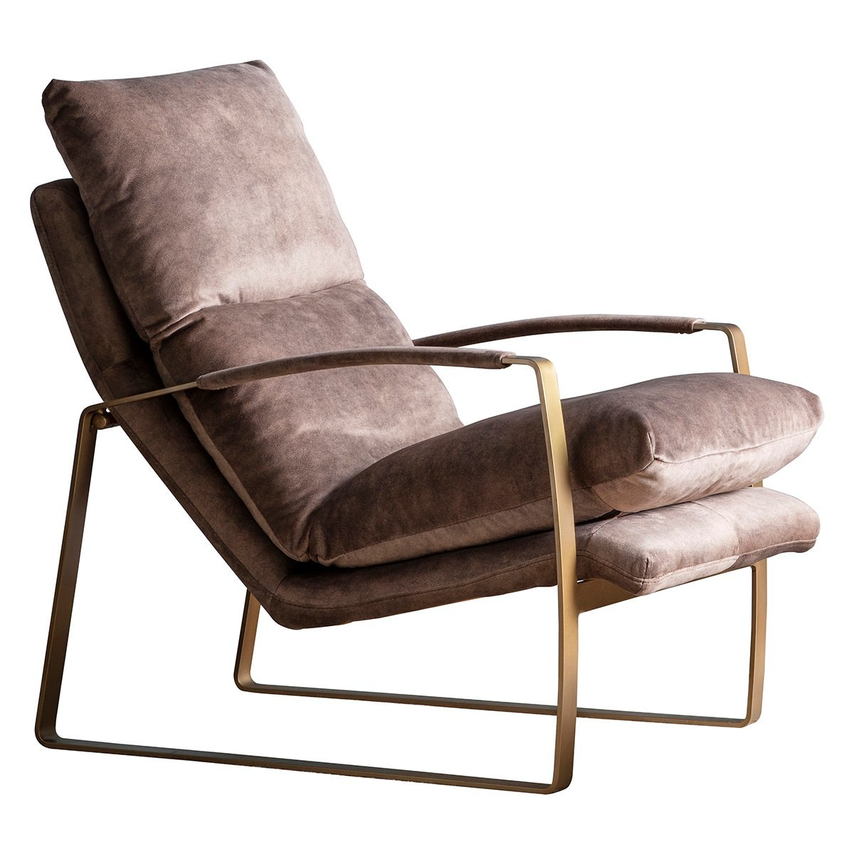Freya Fabric & Metal Lounge Armchair, Mineral