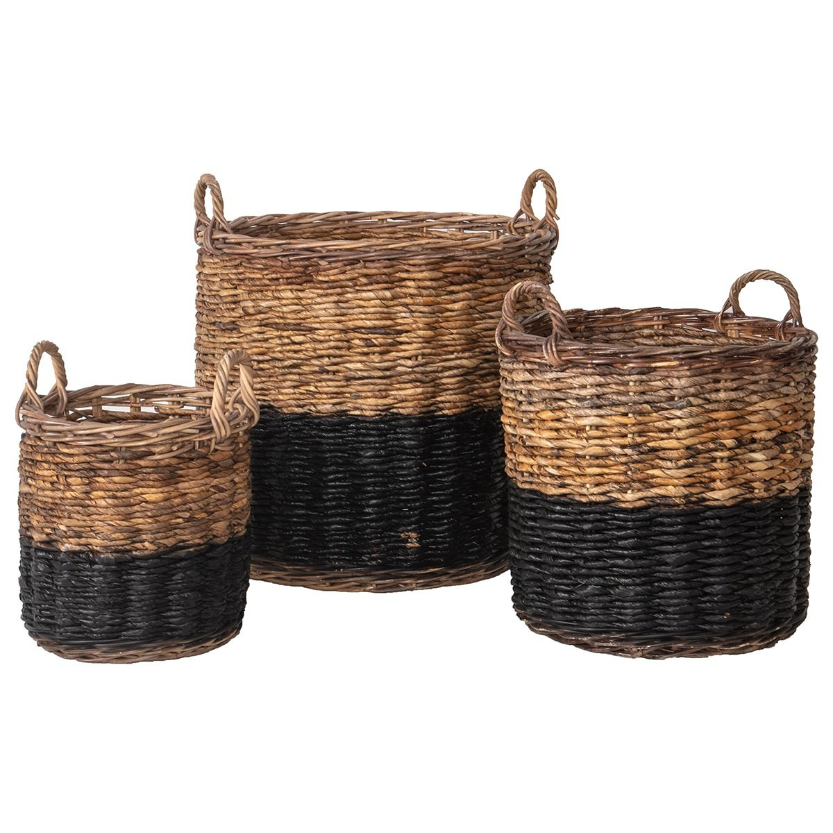 Covelo 3 Piece Rattan Basket Set, Natural / Black