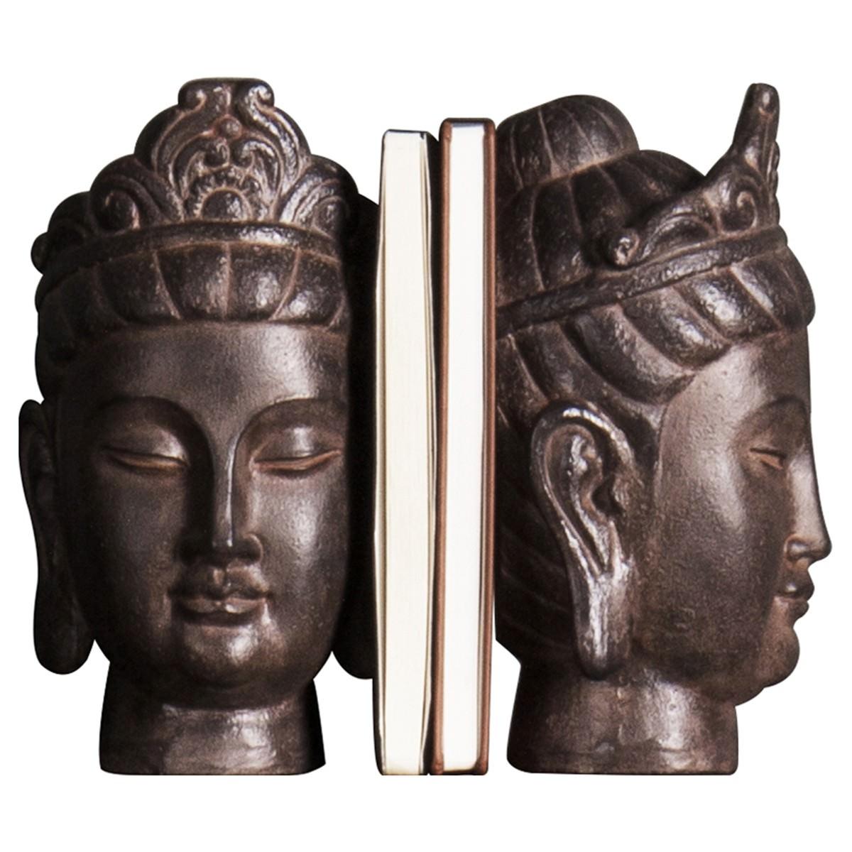 Saffron Buddha Head Bookend Set