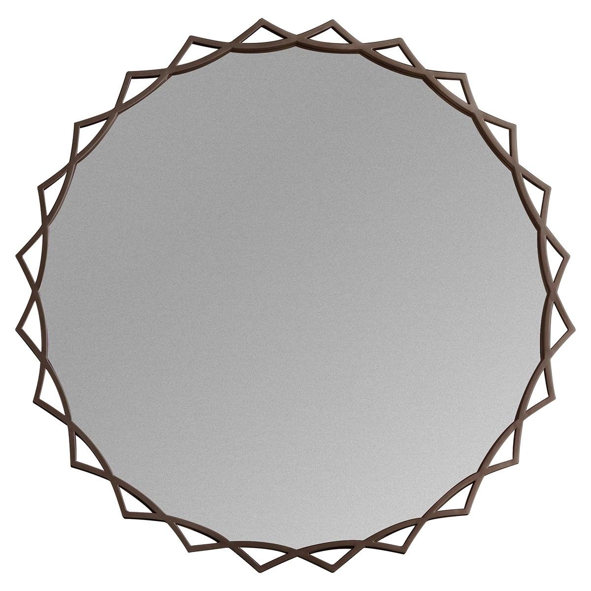 Nala Metal Frame Round Wall Mirror, 92cm, Bronze