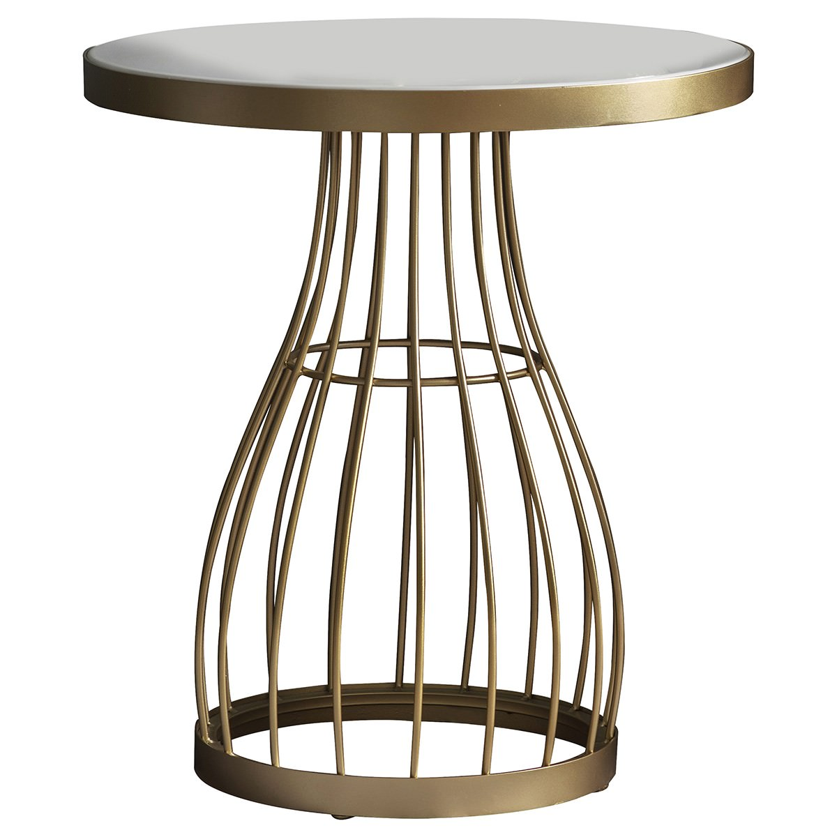 Paddy Metal Round Side Table, White / Champagne Gold