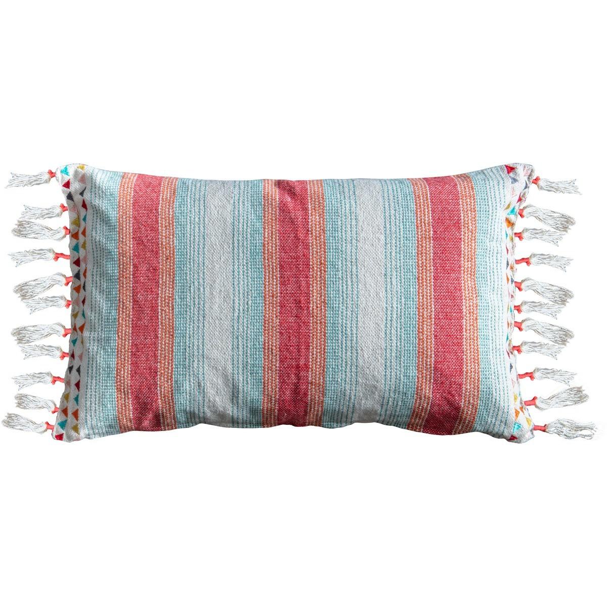 Gracie Cotton Lumbar Cushion, Teal / Coral