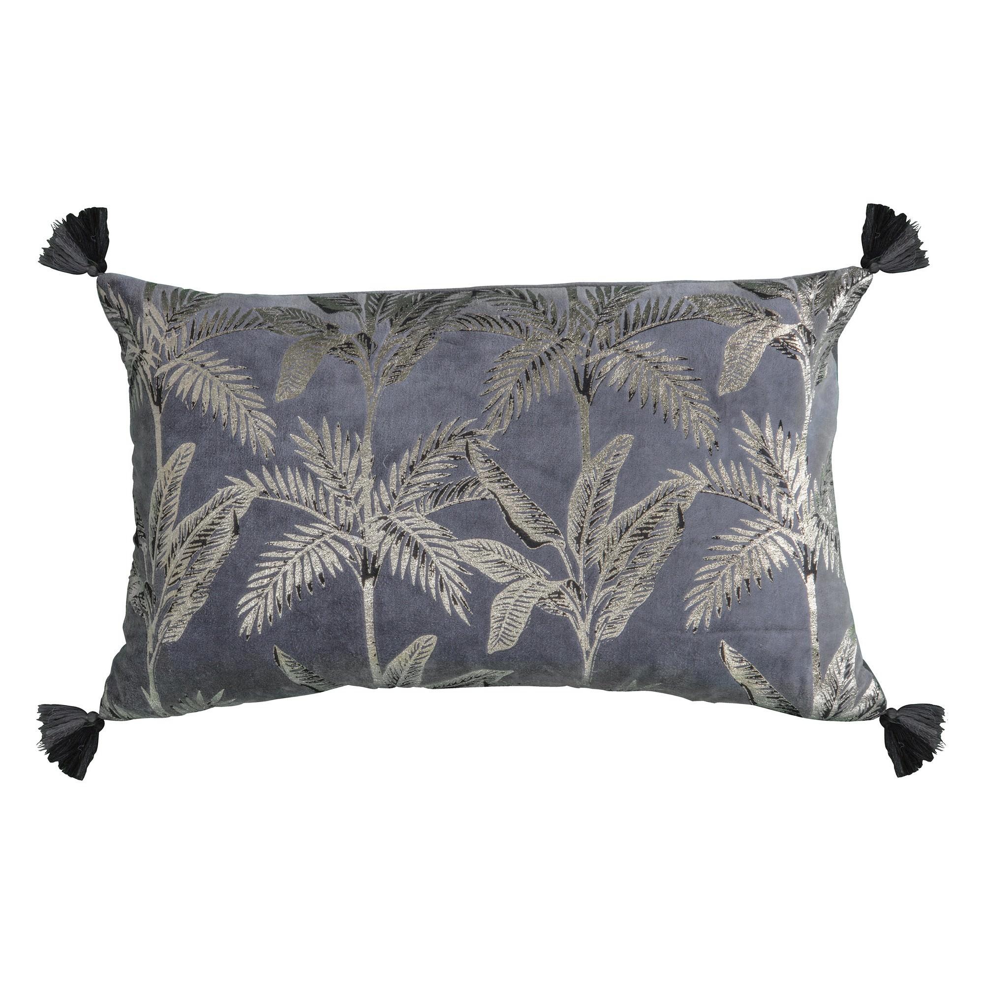 Challeigh Palm Metallic Printed Cotton Lumbar Cushion