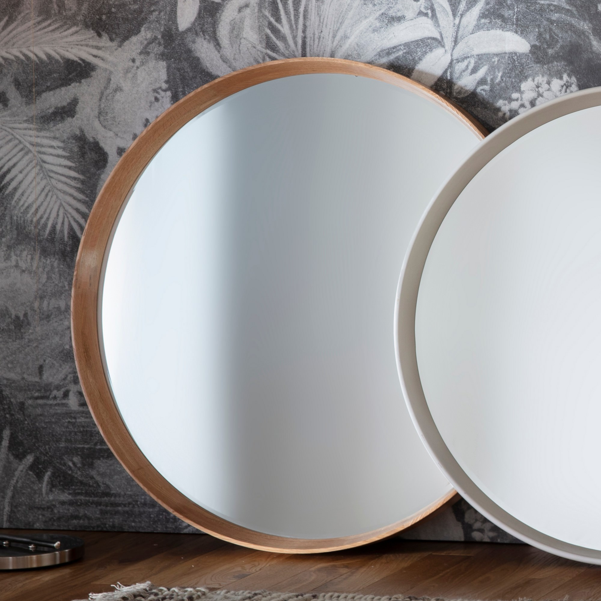 Kalem Wooden Frame Round Wall Mirror, 74cm, Oak