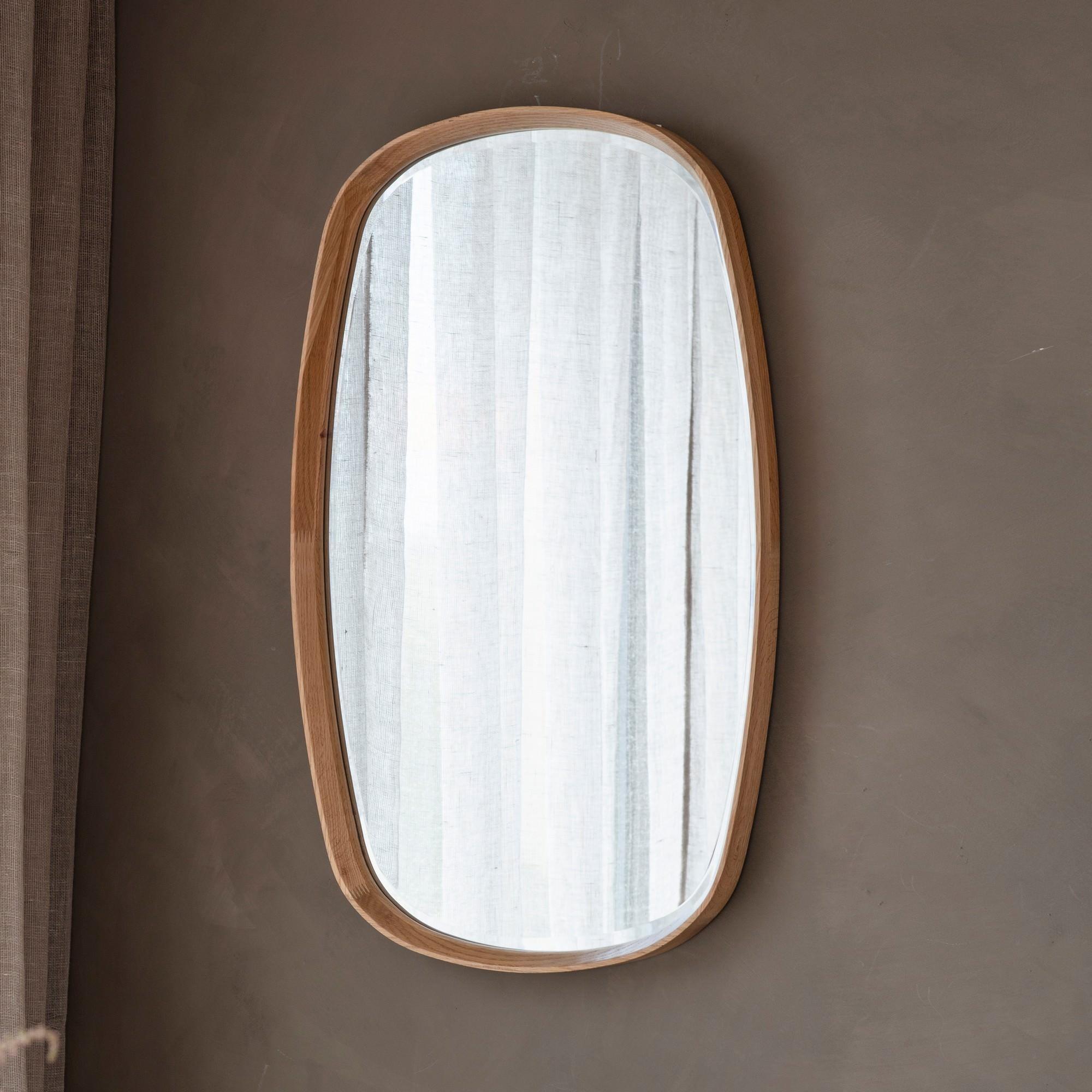 Kalem Wooden Frame Oblong Wall Mirror, 90cm, Oak