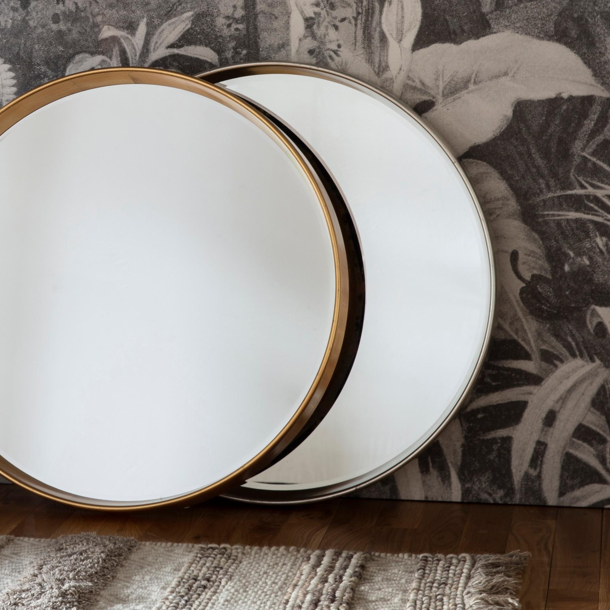 Haise Round Wall Mirror, 95cm, Silver