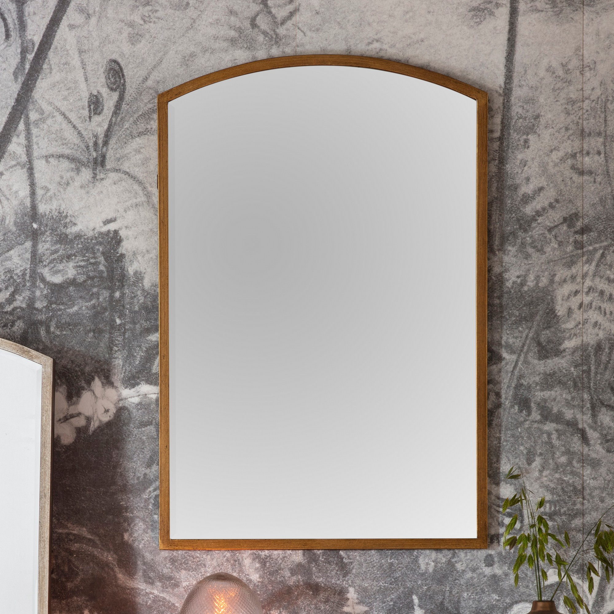 Hamill Metal Frame Arch Wall Mirror, 90cm, Antique Gold