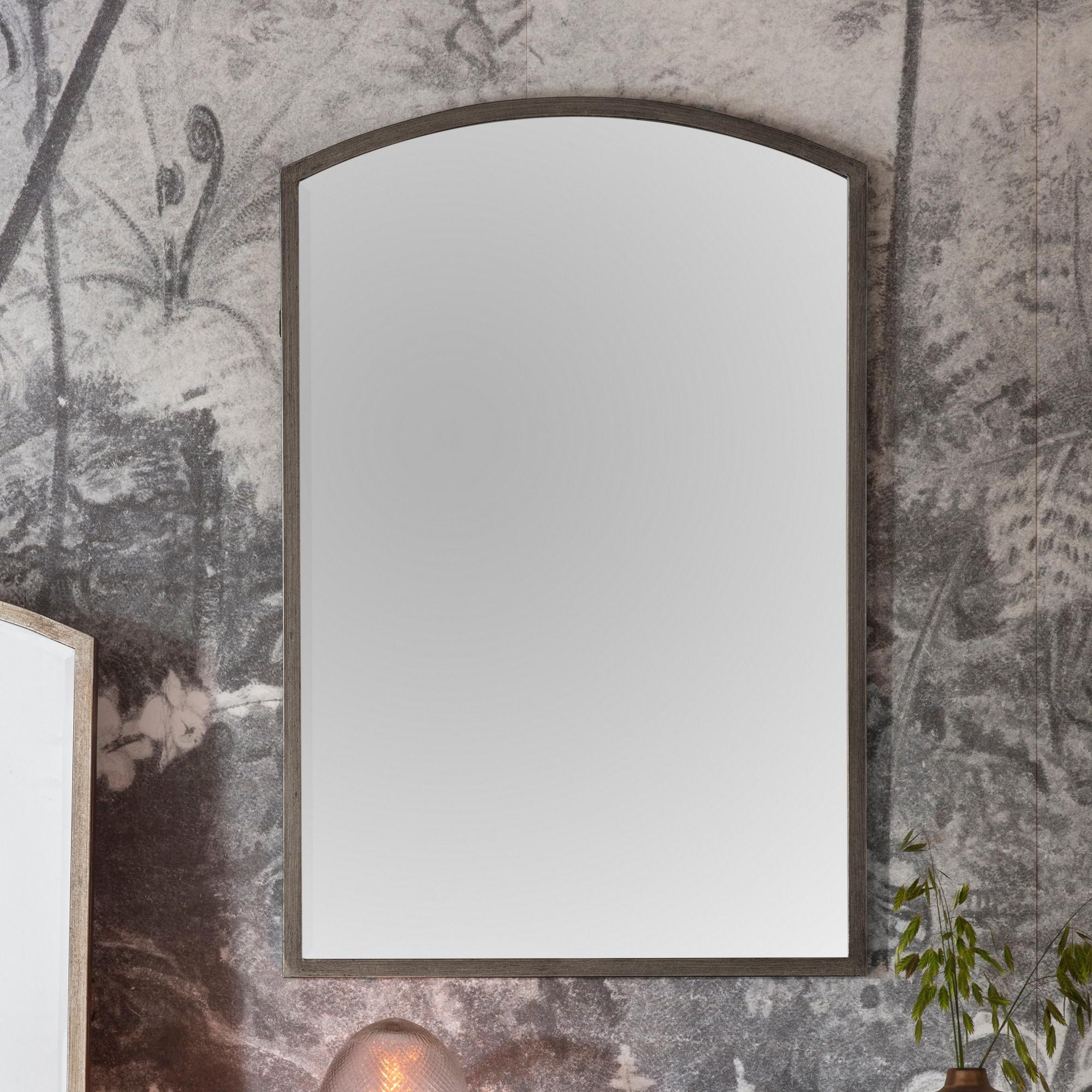 Hamill Metal Frame Arch Wall Mirror, 90cm, Antique Silver