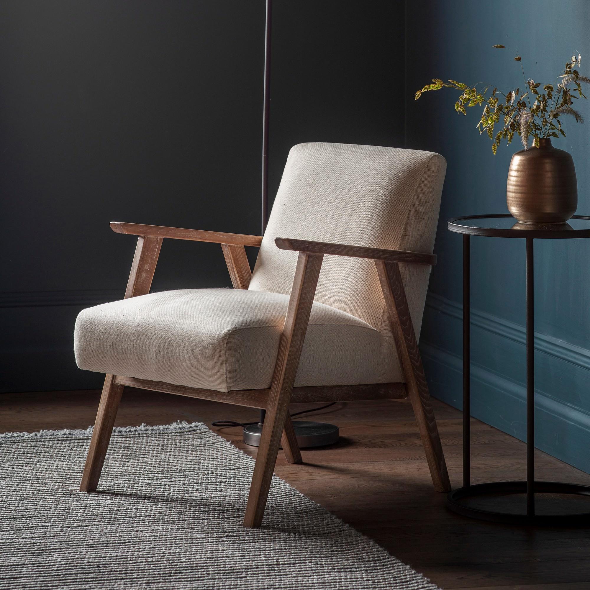 Nowa Linen & Timber Armchair, Oatmeal