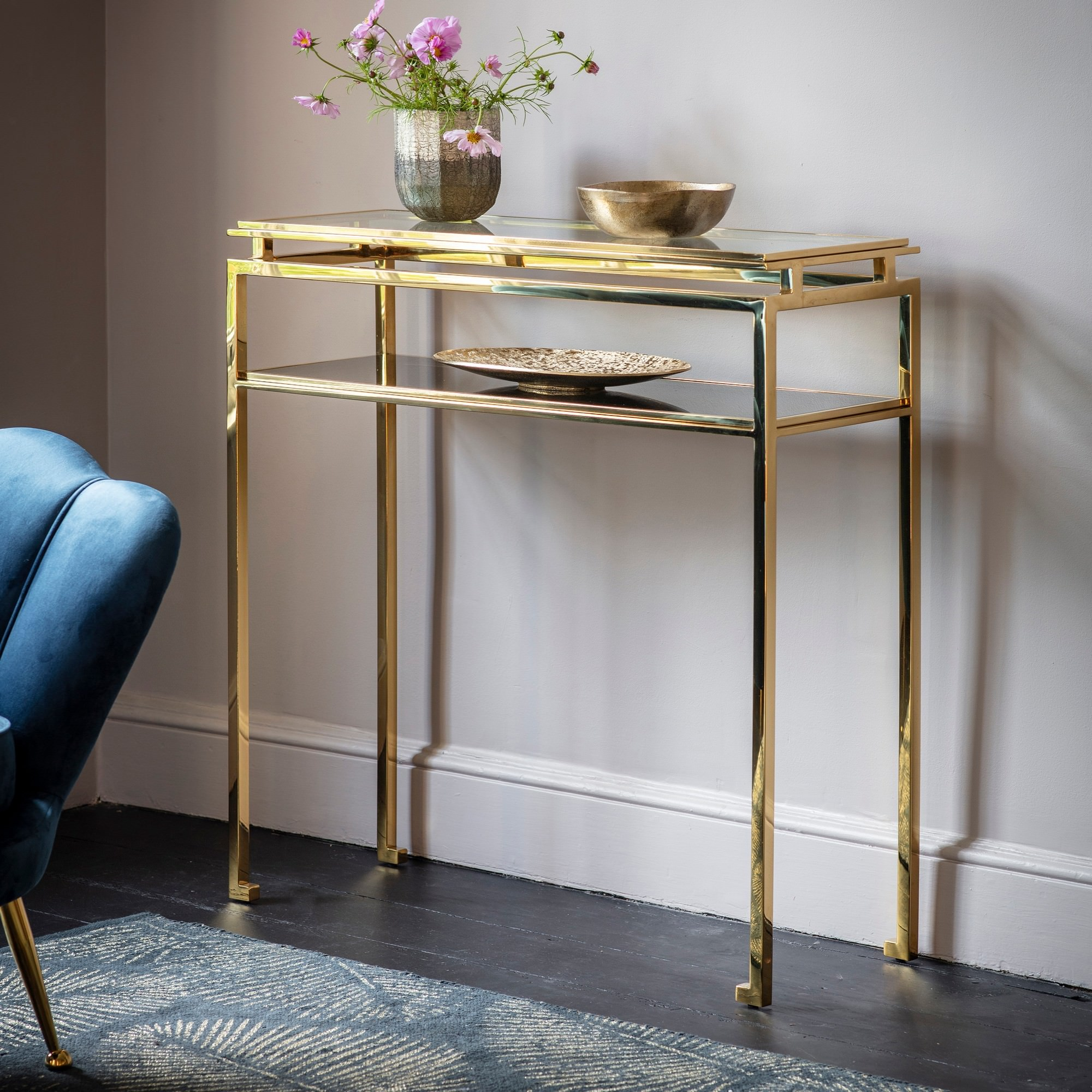 Charleton Stainless Steel Console Table, 90cm