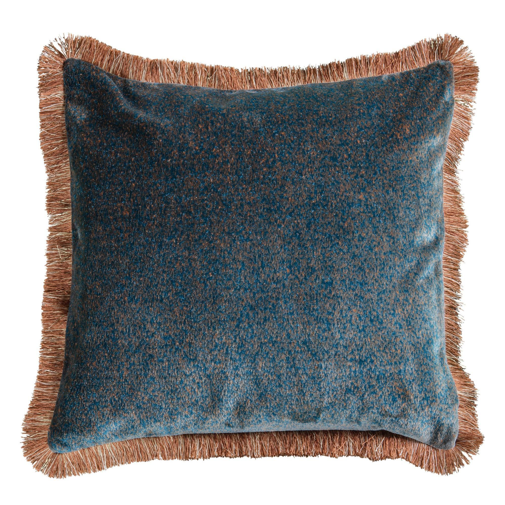 Joan Mottled Velvet Fabric Feather Filled Scatter Cushion, Pine