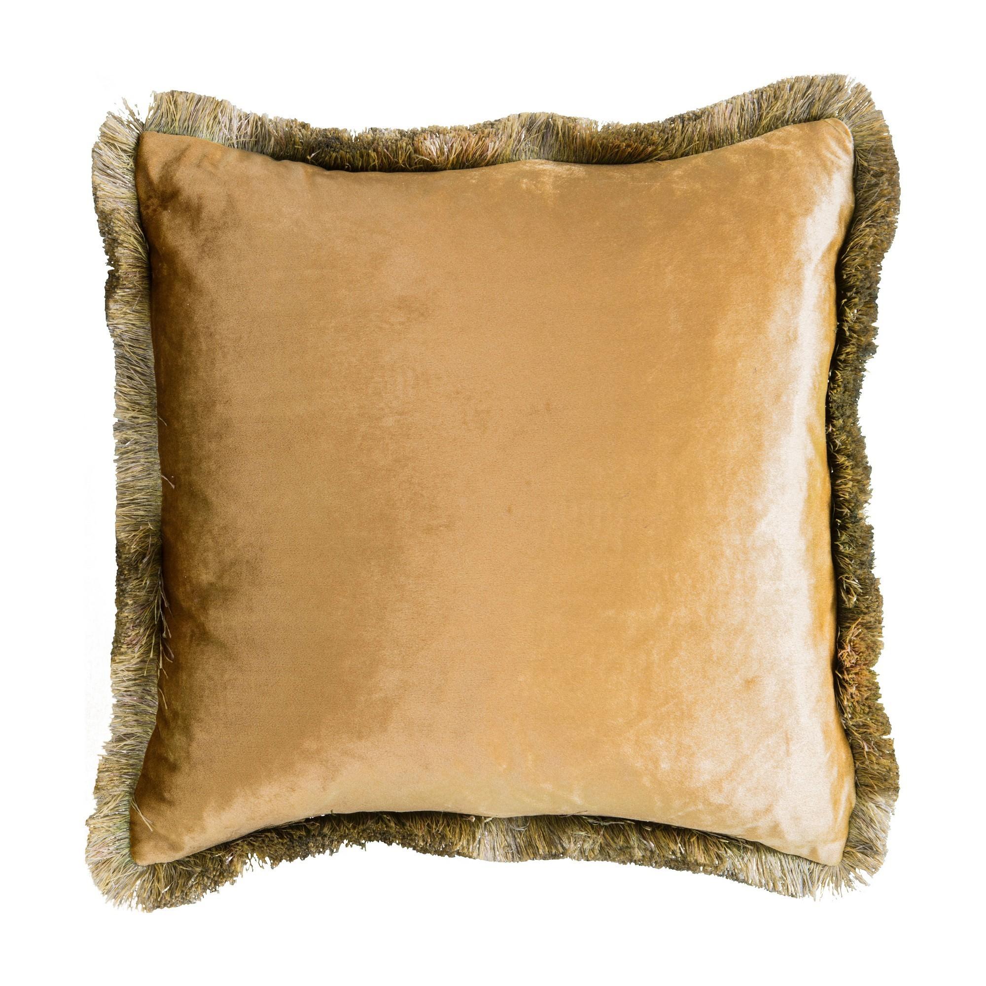 Orella Velvet Fabric Feather Filled Scatter Cushion, Ochre