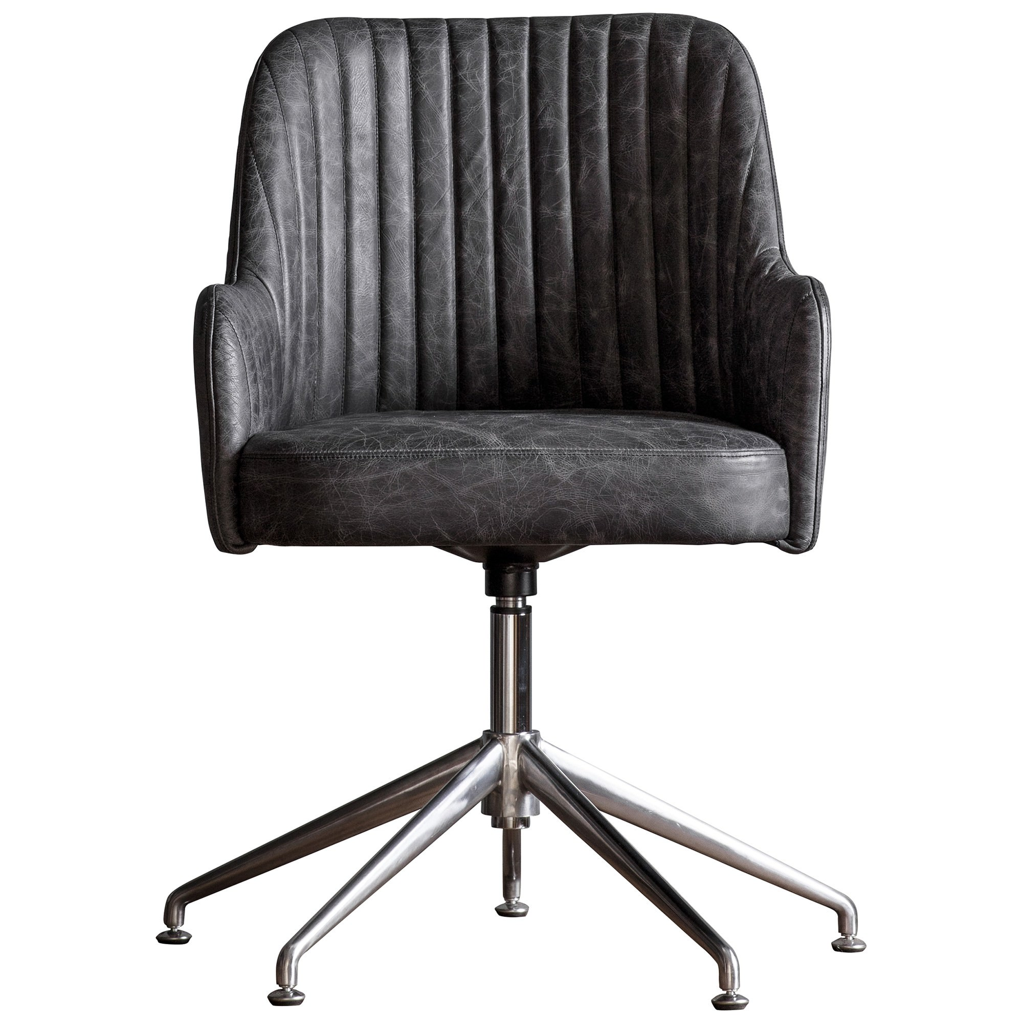 Donisi Leather Swivel Office Chair, Antique Ebony