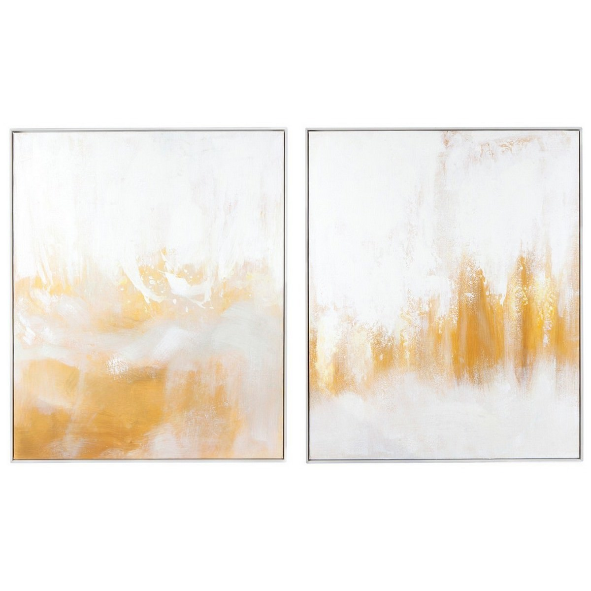 Gold Lustre 2 Piece Framed Canvas Painting Wall Art Set, 120cm