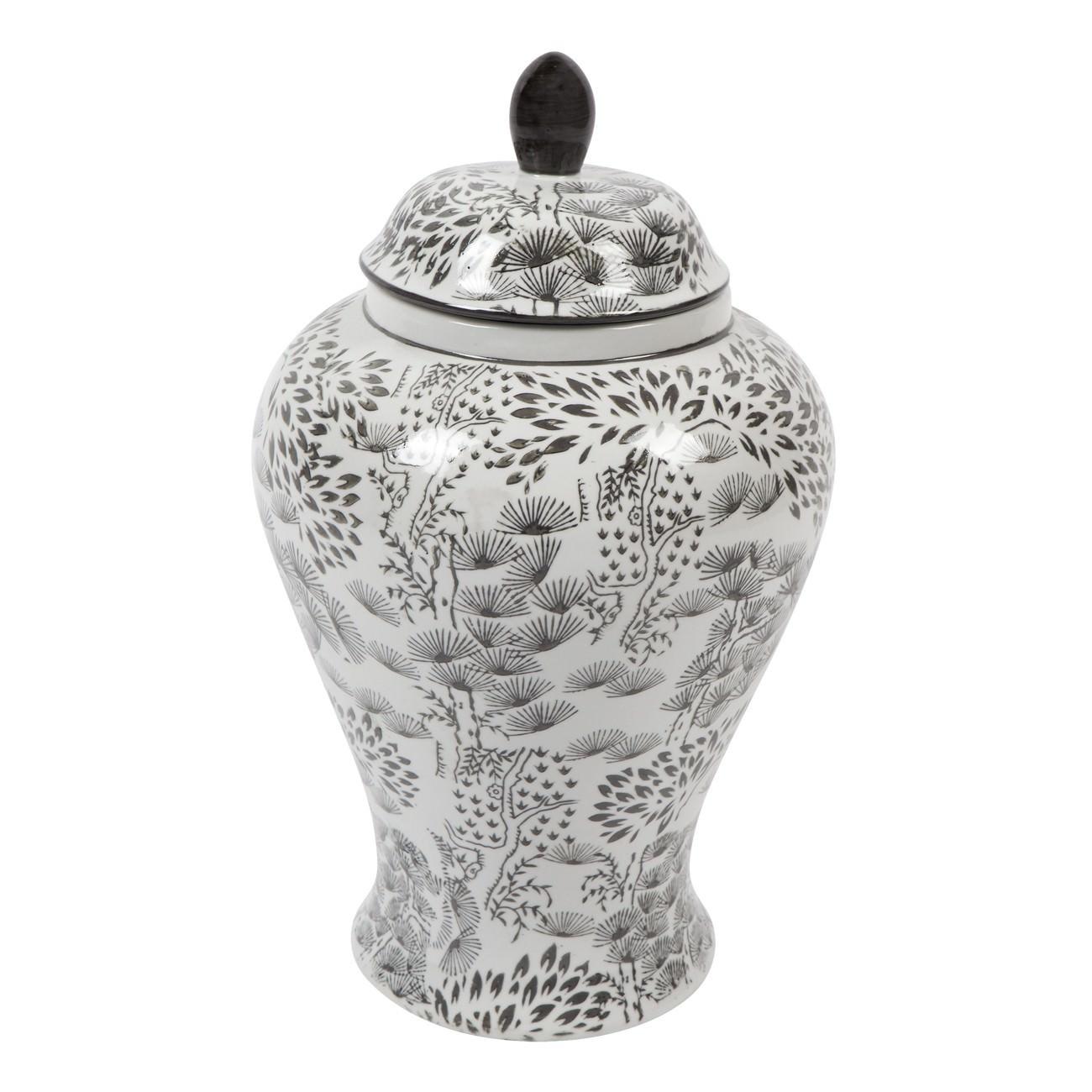 Eastern Ceramic Temple Jar, Medium, Black / White