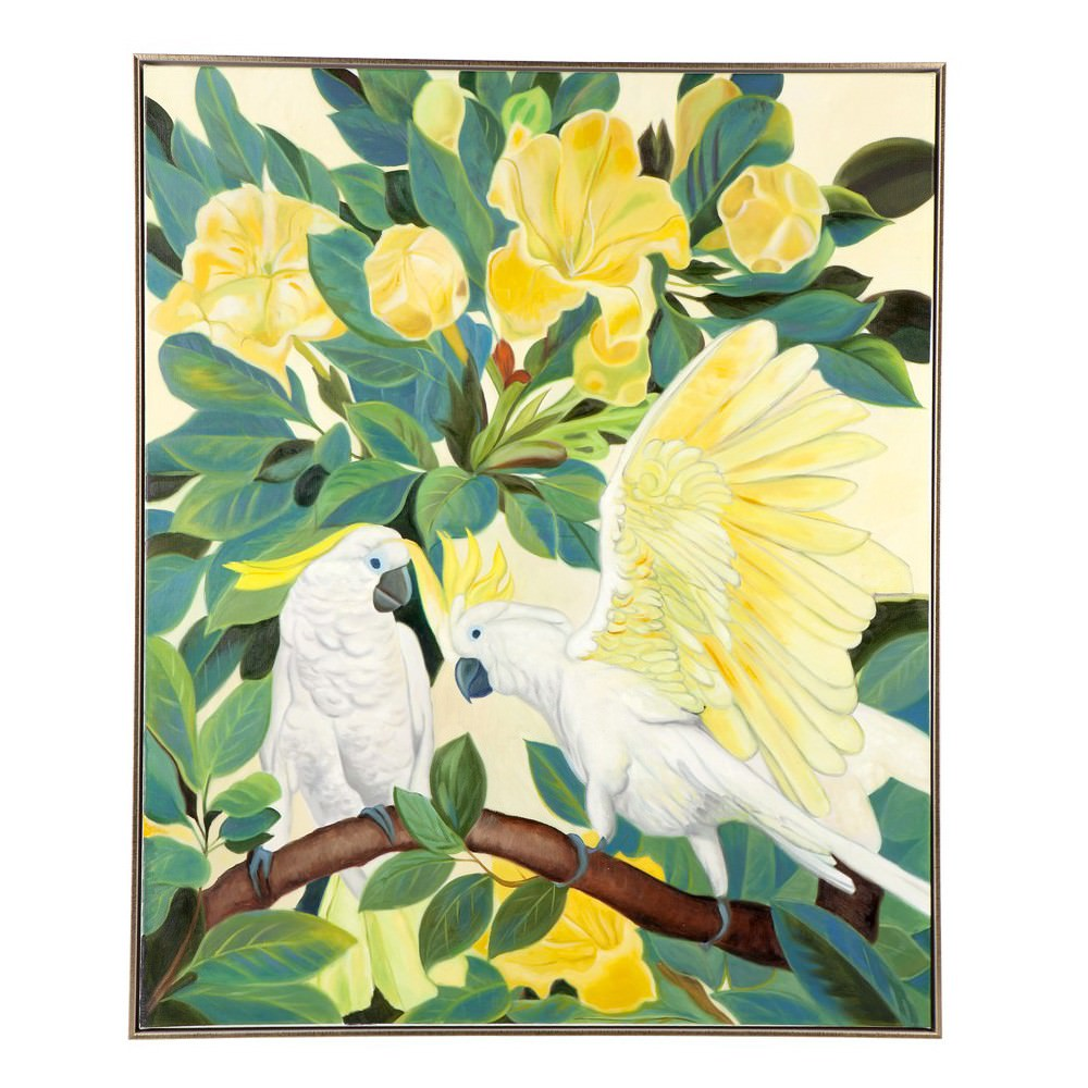 Sitting Cockatoo Framed Hand Painted Canvas Wall Art, 120cm