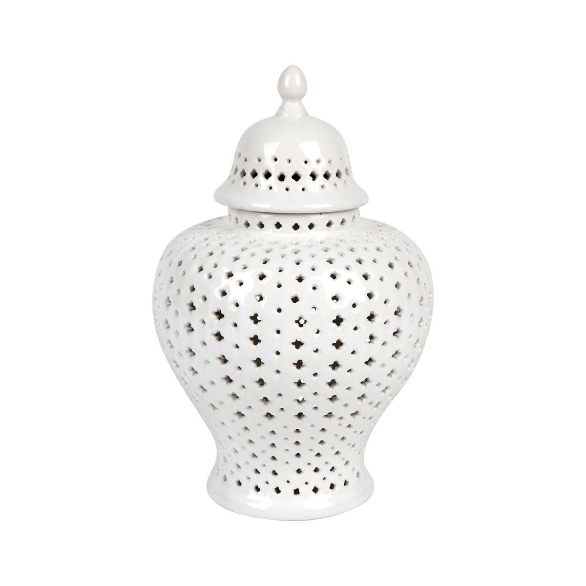 Minx Porcelain Temple Jar, Small, White