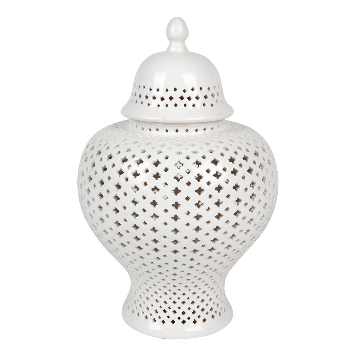 Minx Porcelain Temple Jar, Medium, White