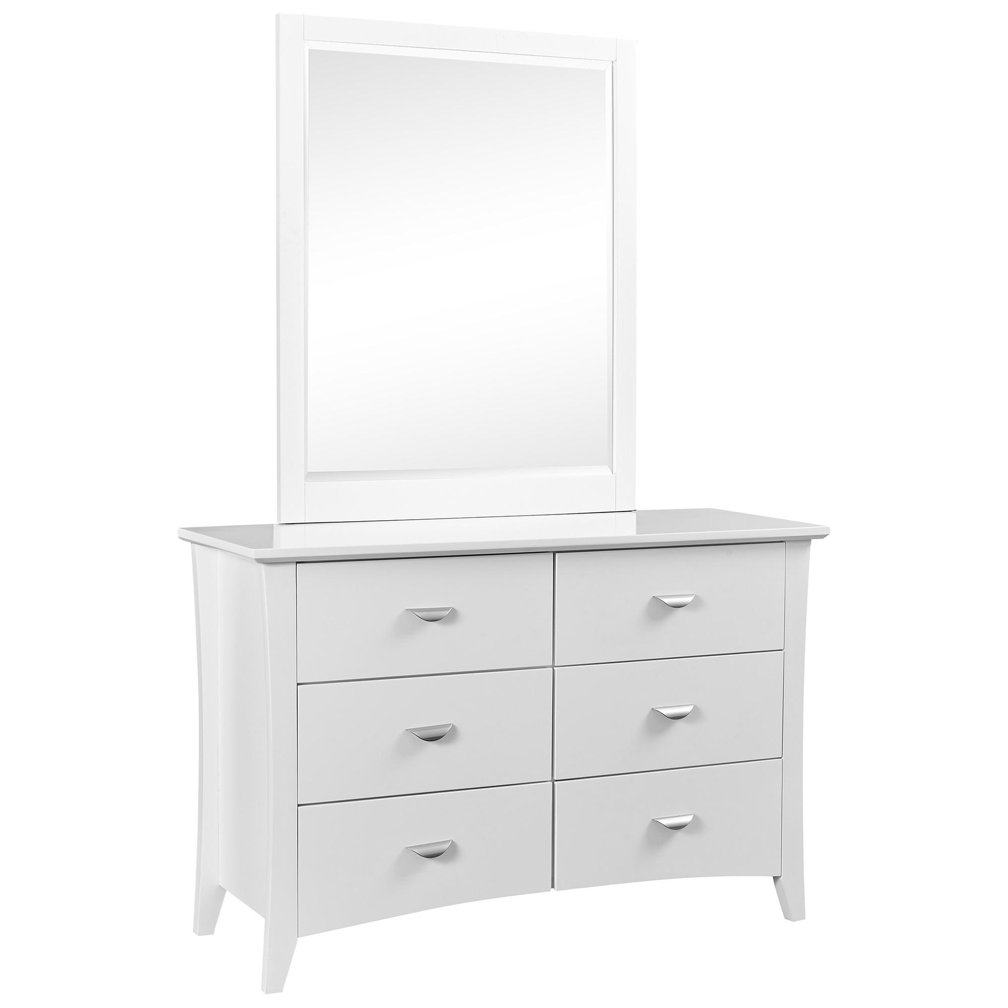 Milson Poplar Timber 6 Drawer Dresser, White