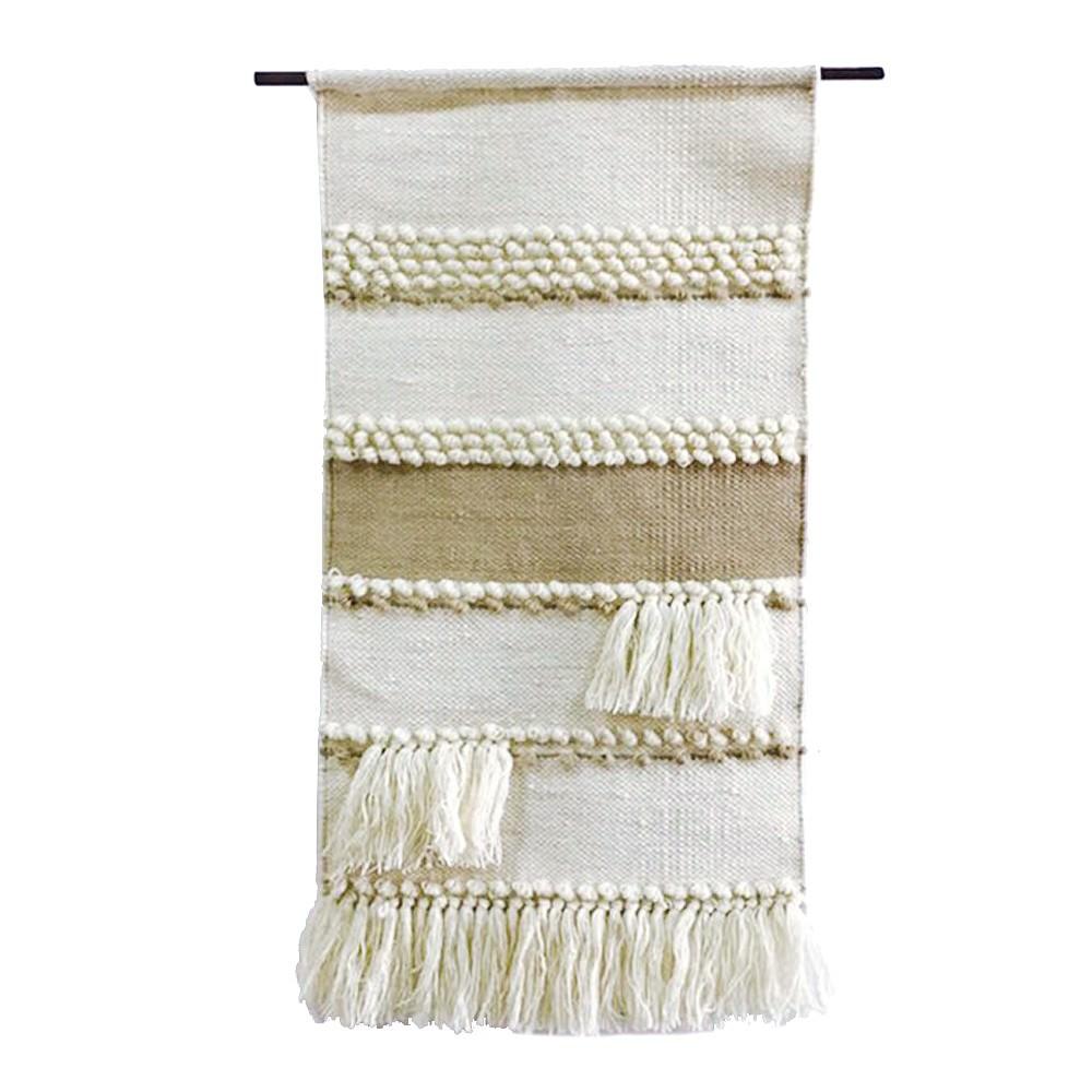 Handwoven Wool & Cotton Hanging Curtain Wall Art, 70cm