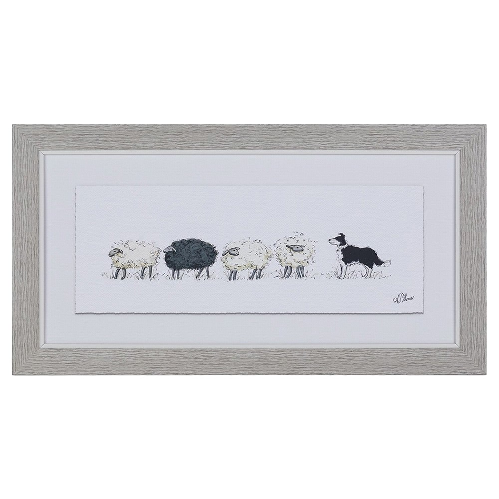 Farm Dog Series Framed Wall Art, Counting Sheep, 43cm