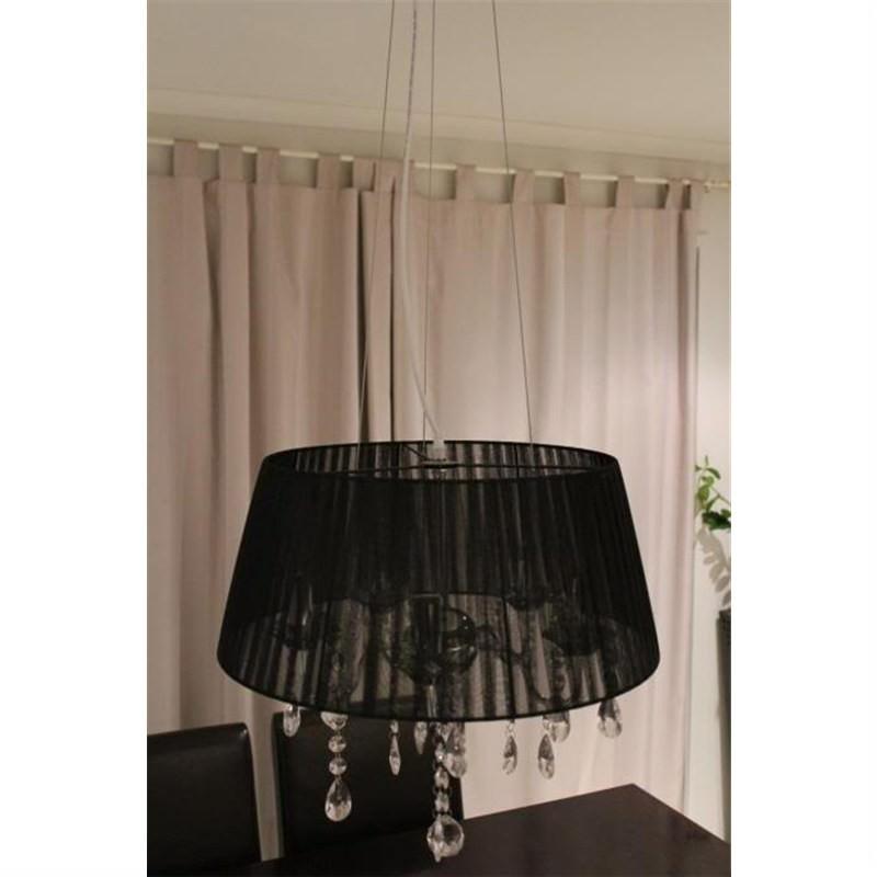 Crystal Ceiling Pendent Chandelier Black Shade Light
