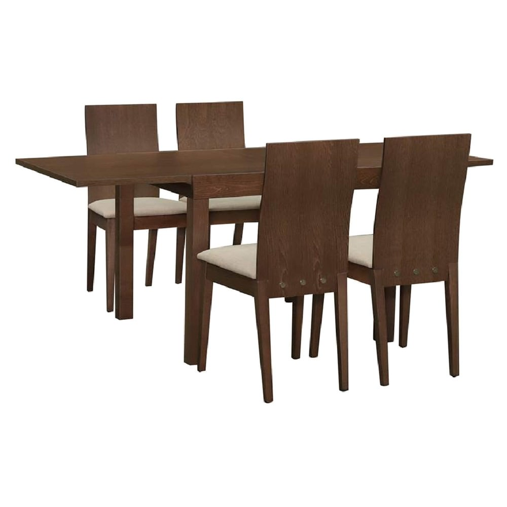 Hilton 5 Piece Beech Timber Extension Dining Table Set, 90-180cm