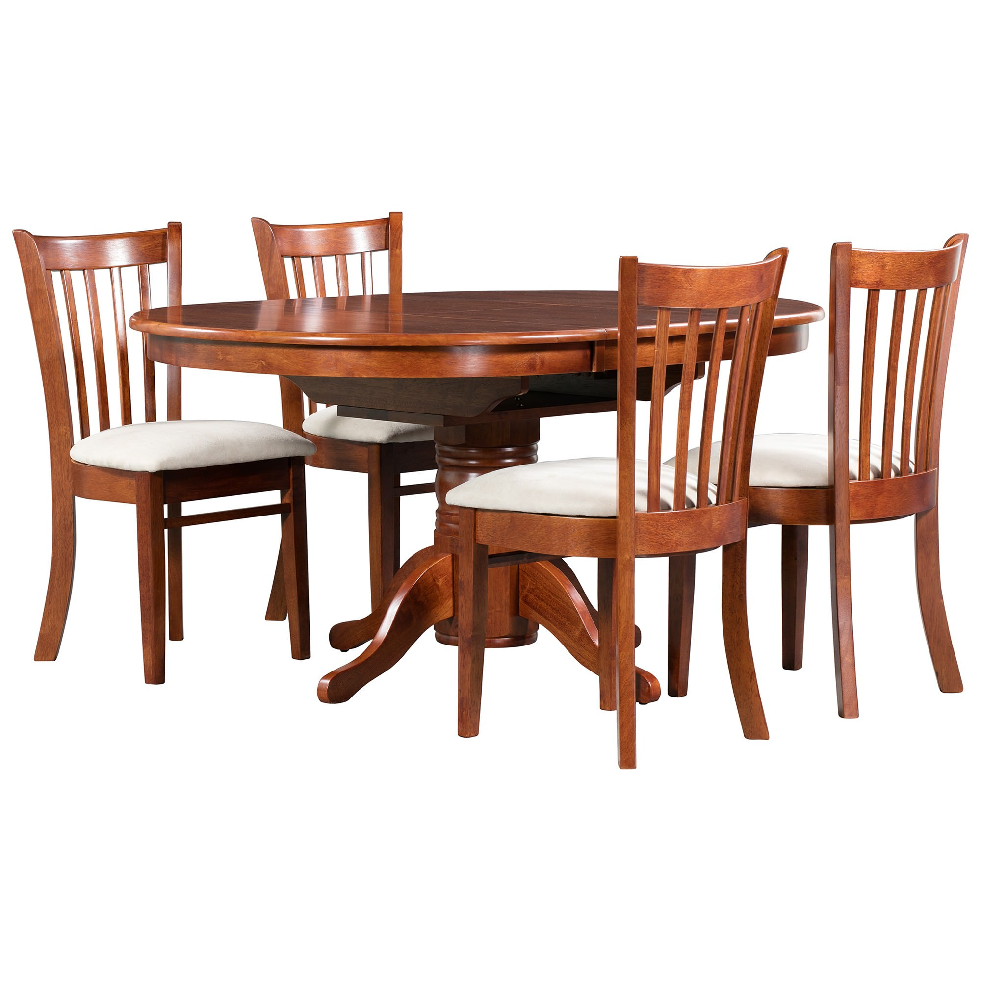 Lismore 5 Piece Rubberwood Timber Extension Dining Table Set, 107-151cm