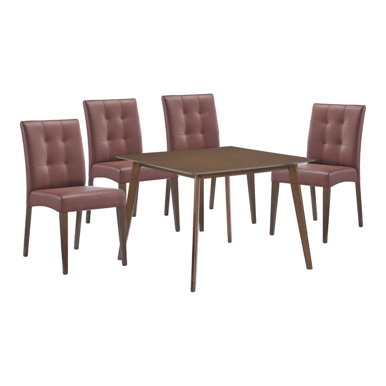 Simba 5 Piece Rubberwood Timber Square Dining Table Set, 100cm